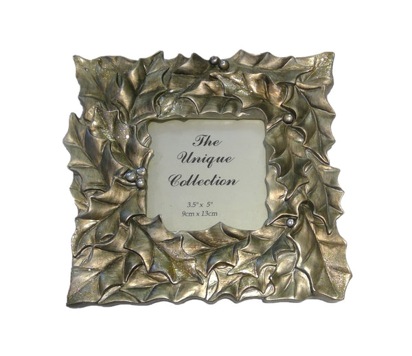 Gilded Holly Leaf Picture Frame (7'')