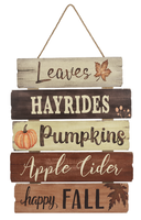 Hanging Wall Sign - LEAVES, HAYRIDES, PUMPKINS...