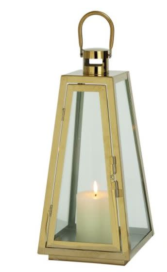 Steel/Glass Gold Lantern (18''H)