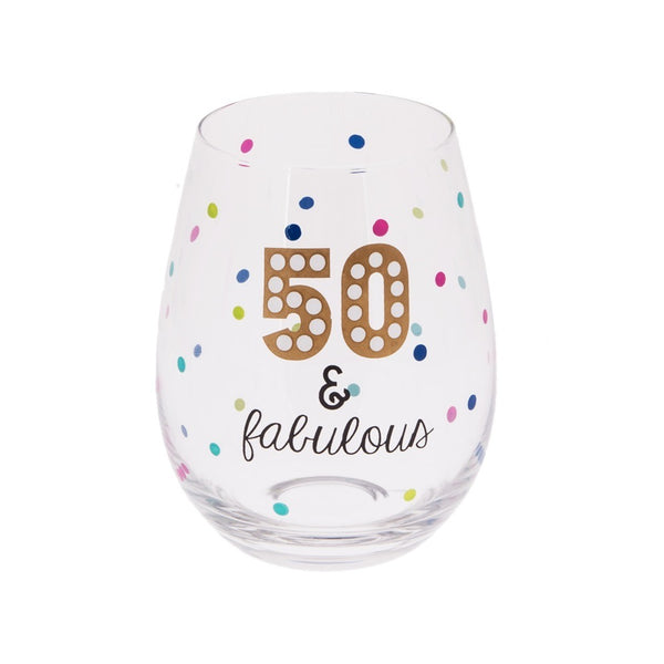 20 oz Stemless Wine - 50 & FABULOUS