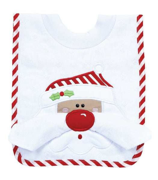 Pullover Bib w/Washcloth Santa Face