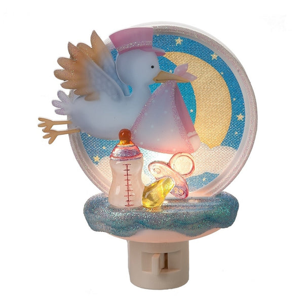 Stork Night Light - Pink