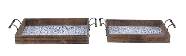 Wooden Tray Set with Blue/White Tiles
