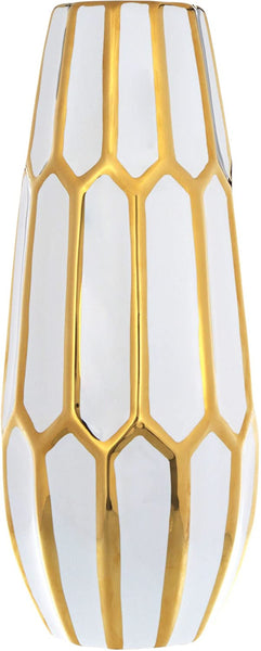 14'' White with Gold Trim Honeycomb Vase