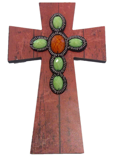 Layered Wall Cross - Rust Wood w/Beads