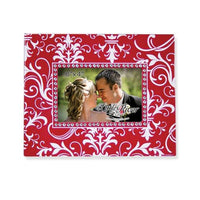 Red/White Damask Frame w/Rhinestones (4x6)