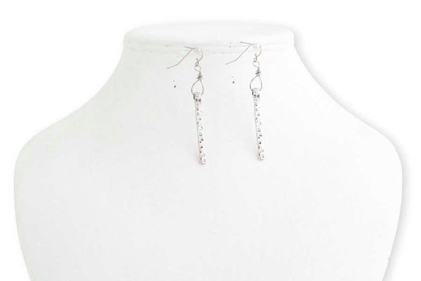 Silver Hammered Vertical Bar Earrings
