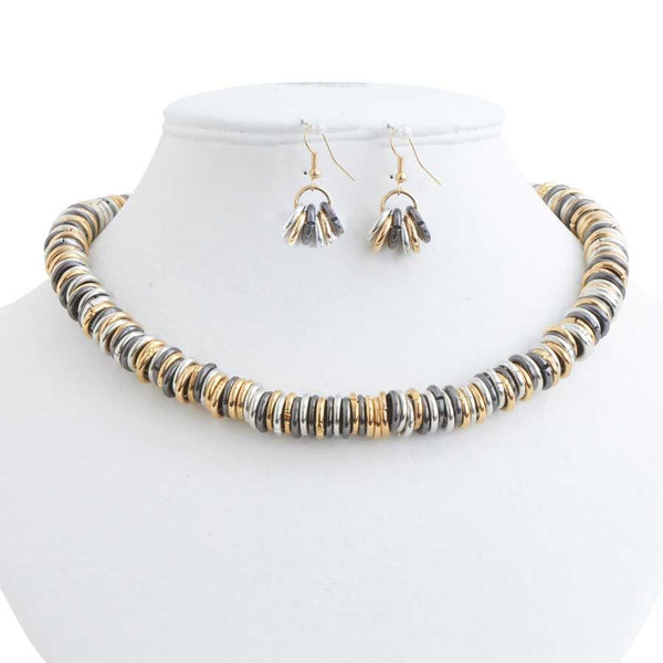 Tri-Tone Rings Necklace Set