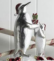 Silver & White Mother and Child Penguin with Gifts