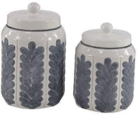 2-pc Blue & White Canister Set