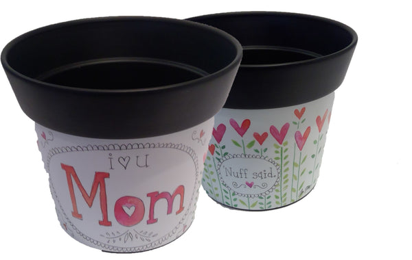 I HEART U MOM 6'' Art Pot