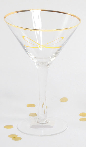 Martini Glass with Gold Bow