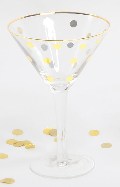 Martini Glass with Gold Dots