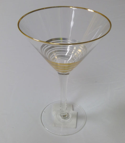 Martini Glass with Gold Stripes