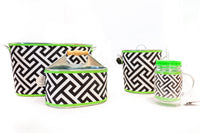 Utensil Caddy - GREEN GEOMETRIC / DOTS