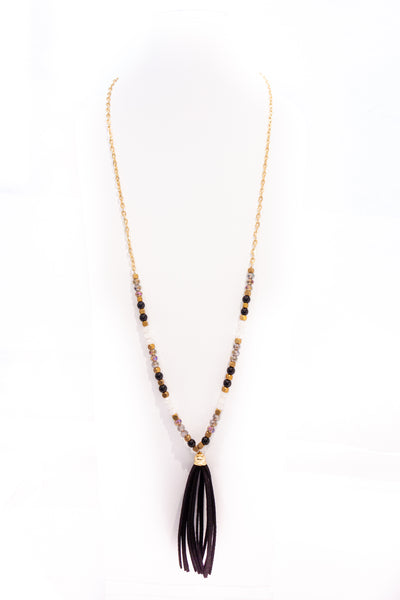 Gold/Beaded Necklace w/Tassel