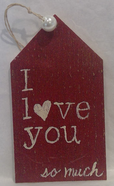 I LOVE YOU - Wooden Gift Tag, red (Clearance)