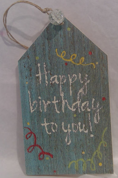 HAPPY BIRTHDAY - Wooden Gift Tag, turquoise (Clearance)
