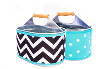 Utensil Caddy - TEAL CHEVRON / DOTS