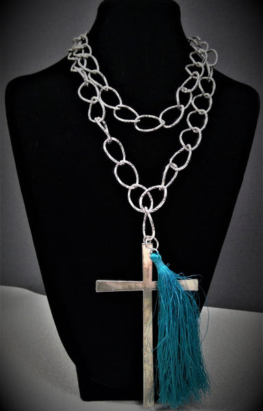 Metal Cross with Turquoise Tassel Necklace