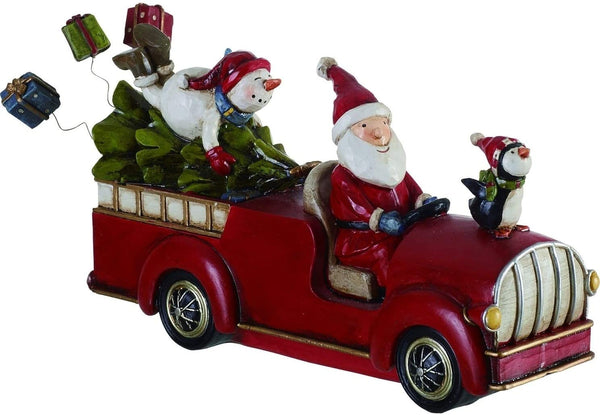 Santa and Snowman on Christmas Tree Truck