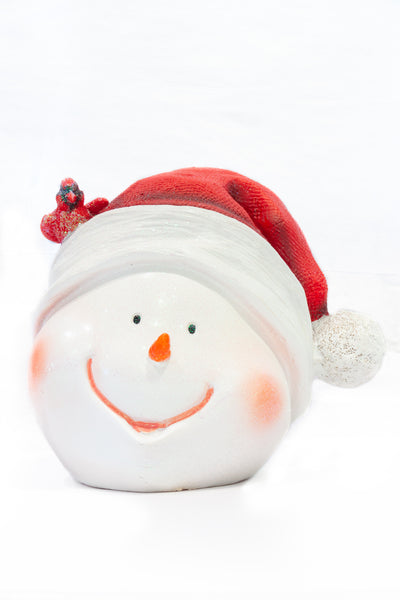 Snowman Head with Santa Hat