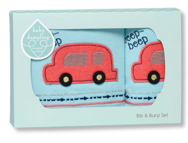 Beep Beep Bib & Burp Set