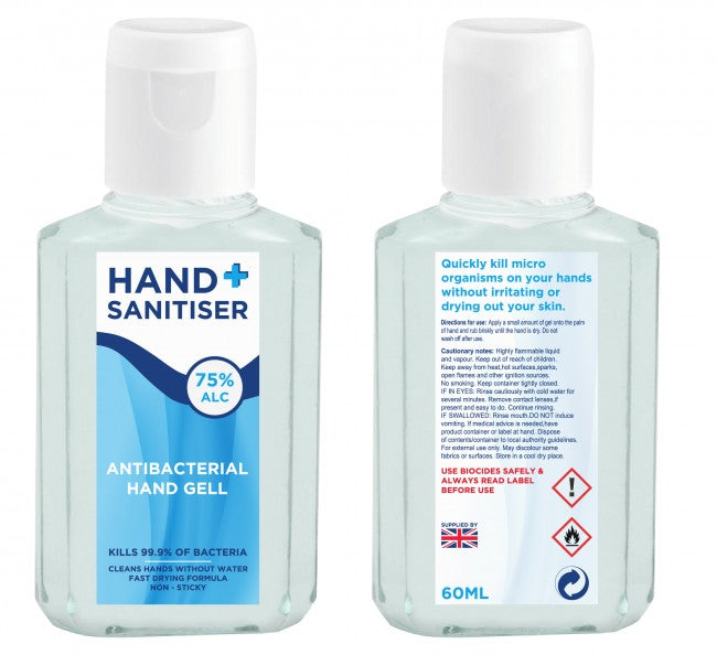 HAND SANITISER, 75% ALCOHOL, Handy 60ml Size, FROM £2.25 each