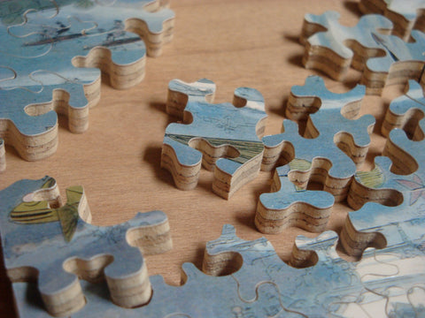 Wooden jigsaw Puzzle showing the smooth cut edges