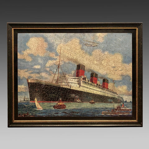 Vintage Jigsaw Puzzle of the Passenger Ship The Queen Mary