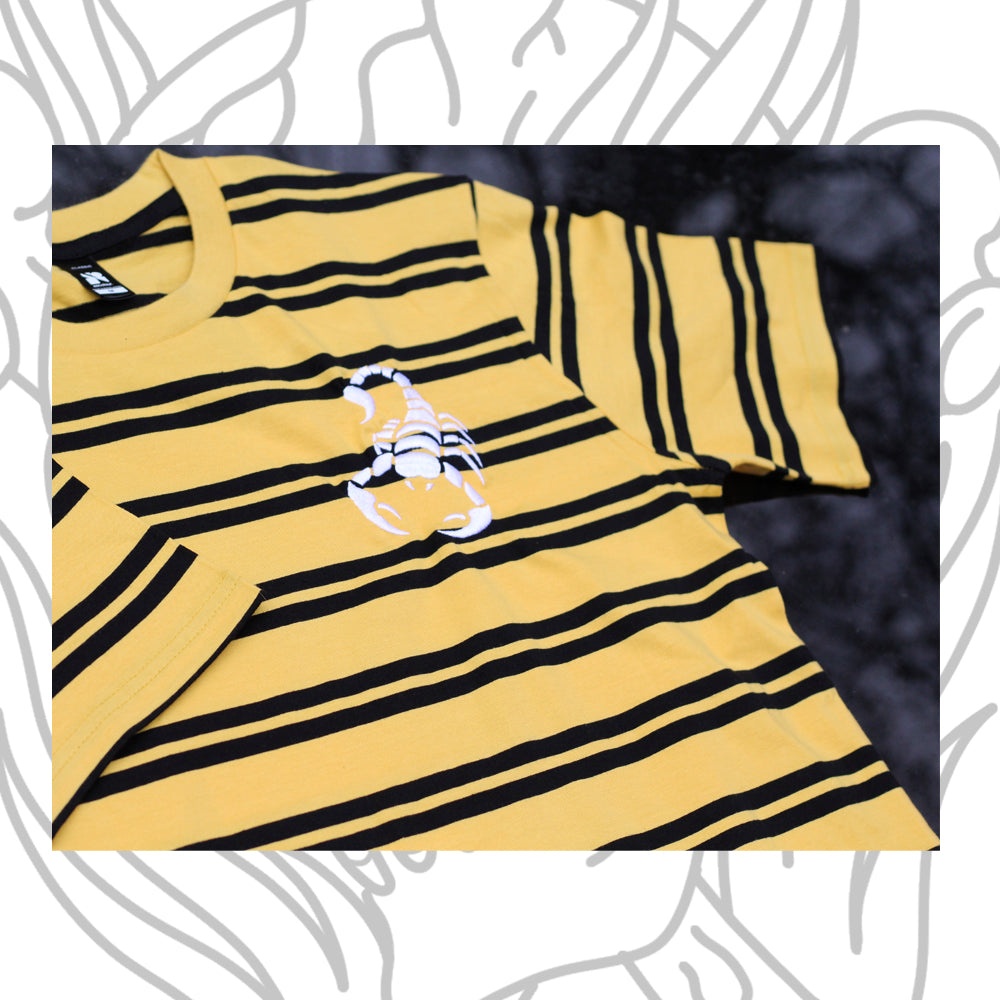 Eighty6 Scorpion Embroidered Striped Tee