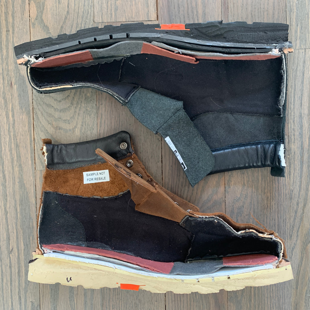 Boots cut in half