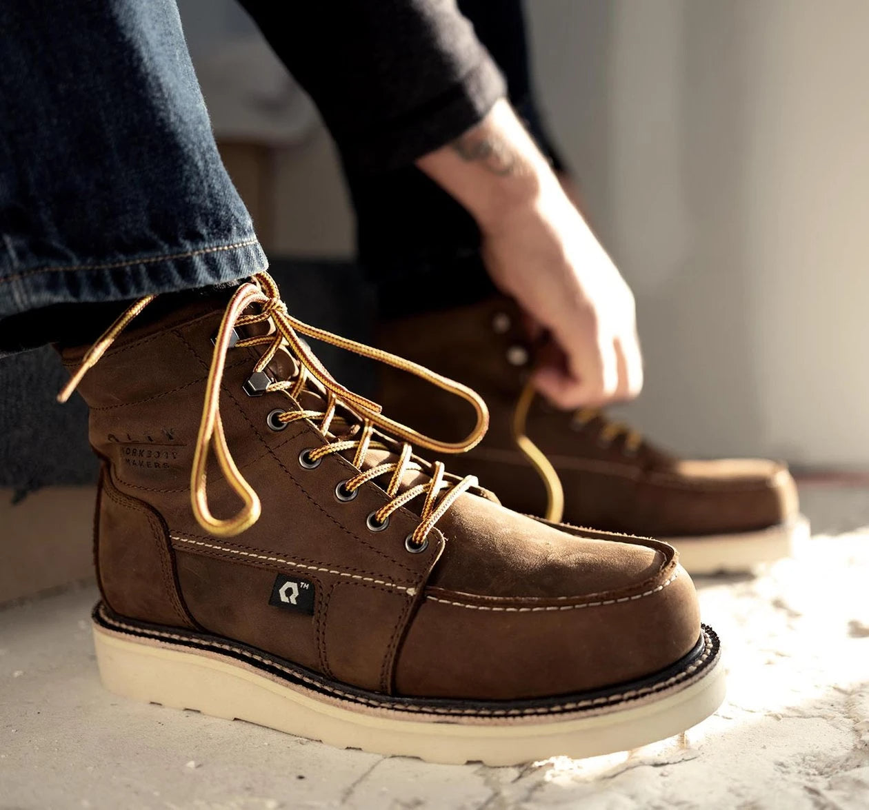 Men's moc toe work boots