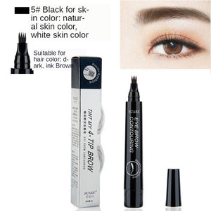 MB New 4 Heads Eyebrow Pen Waterproof Fork Tip Eyebrow  Pencil Long Lasting Professional Fine Sketch Liquid Eye Brow 5 colors