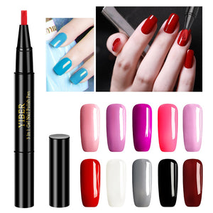 10 Colors Convenient Nail Gel Paint One Step Gel Nail Pen Without Top Primer 3 In 1 UV Gel Paint Glitter Nail Polish TSLM1