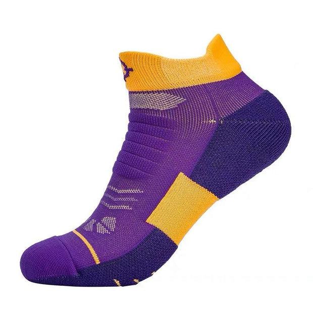 Rigorer Premium Max Cushioned Low Cut Basketball Socks W/ NBA Teams Colour Scheme Rigorer ONE SIZE Lakers