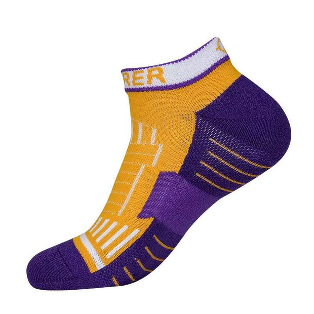 Rigorer Pro Performance Low Cut Basketball Socks Rigorer ONE SIZE Yellow-Purple-White