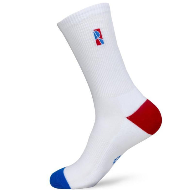 Rigorer R Logo Crew Basketball Socks Rigorer White ONE SIZE