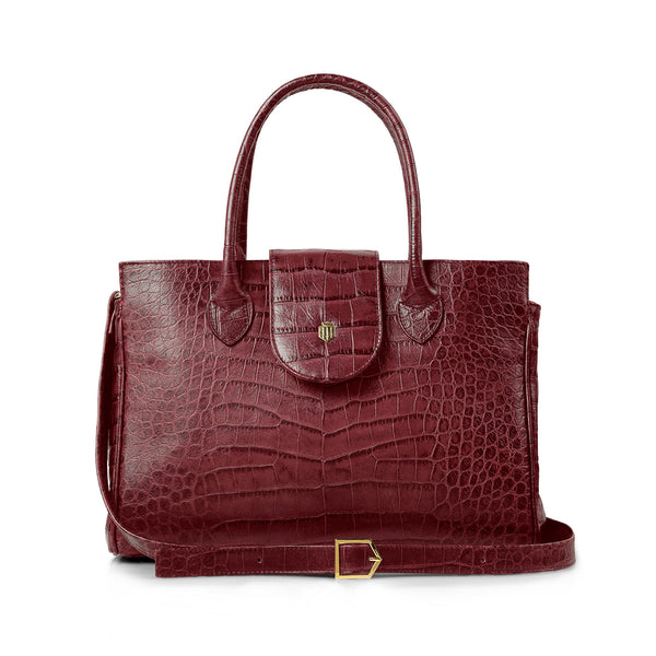 The Langley - Oxblood Croc Print - Race Day Ready - Fairfax & Favor