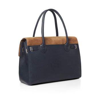 The Loxley Shoulder Bag - Tan & Navy