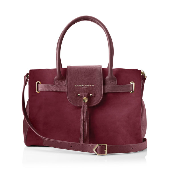 The Windsor Handbag Oxblood - Embossing - Fairfax & Favor