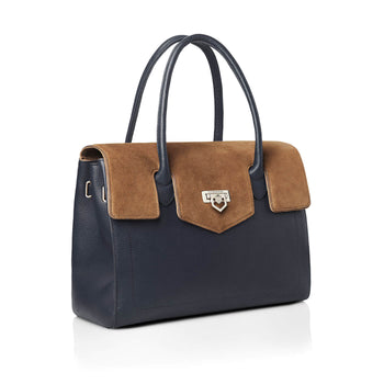 The Loxley Shoulder Bag - Tan & Navy Suede
