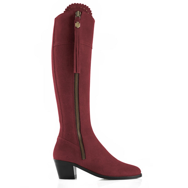 The Heeled Regina (Oxblood) - Suede Boot - Race Day Ready - Fairfax & Favor
