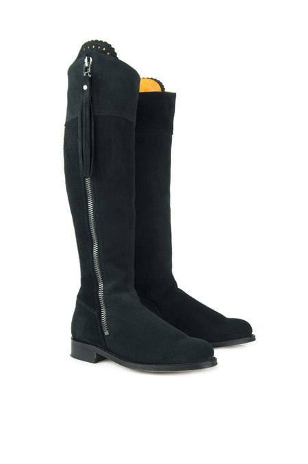 Classic (No Elastic) The Regina Black - Suede Boot - Womens Sale - Fairfax & Favor