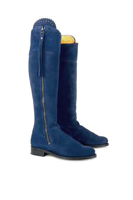 Classic (No Elastic) The Regina Royal Blue - Suede Boot - Womens Sale - Fairfax & Favor
