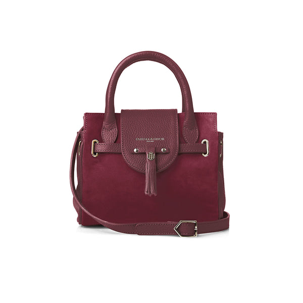The Mini Windsor Handbag - Oxblood - Embossing - Fairfax & Favor