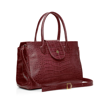 The Langley - Oxblood Croc Print