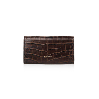 The Grosvenor Purse - Chocolate Croc Print