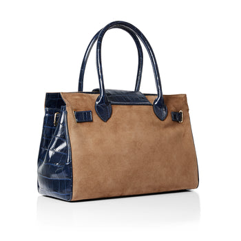 The Limited Edition Windsor Handbag Tan & Navy Croc