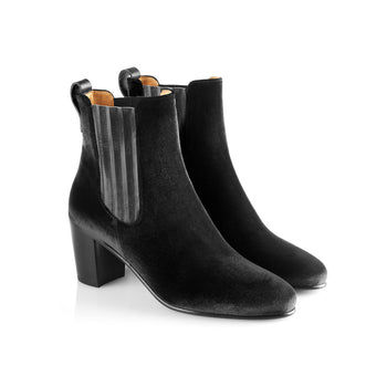 The Electra Boot Black Velvet Fairfax and Favor 2